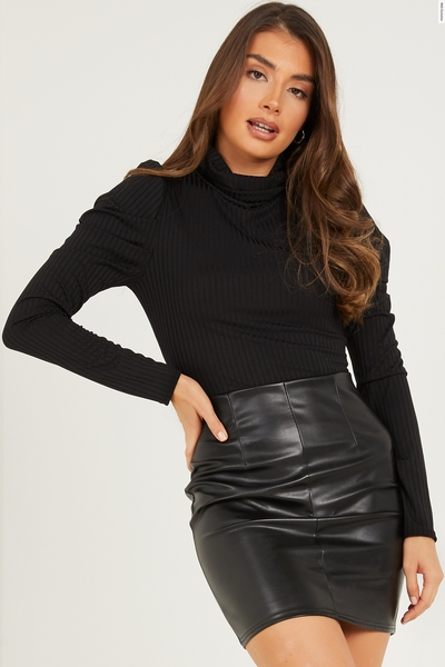 Black Ribbed Faux Leather Dress